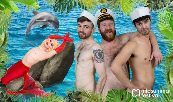 A Mermaid rests against a rock. Three gentlemen sailors look on